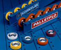 Kornylak pioneered Palletflo for pallet flow controlled gravity live storage racks and other material handling systems that need the hysteresis controll built into each wheel.