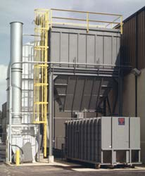 Here is a large external dust removal system with an added trash compacter. Click to enlarge.