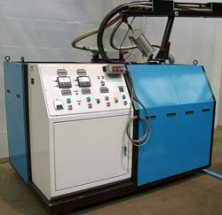 This is a Phenolflo dispensing machine for mold filling or automatic foam board production.