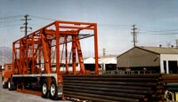Many different types of cargo are hauled using Strad-O-Lift� such as these steel pipes.